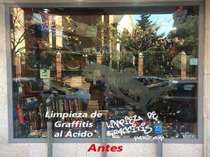 Limpieza de Graffitis al Ácido en Cristales, Lunas y Escaparates